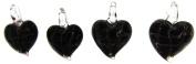 Bead Collection 41292 Glass Black 4 Mini Hearts Pendant
