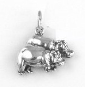 Sterling Silver Noah's Ark Charm - Hippos Charm Item #12001