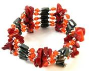 Trendy Red Jasper GemStone Beads Magnetic Therapy Hematite Bracelet/Necklace