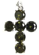 Bead Collection 41276 Cubic Zirconia Peridot Cross Pendant Bead