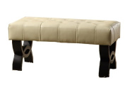 Armen Living Central Park Tufted Leather Ottoman, Cream