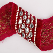Velvet Fabric Diamante Crystal Beads Indian Hand Embroidery Salwar Kameez Sari Unique ribbons Border. Very Special, In Turquoise and Cerise Red with Clear Crystals embellishments.