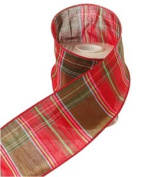 Red and Green Plaid Fabric Ribbon 10cm X 10 Yards