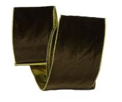 Renaissance 2000 Ribbon, 10cm , Chocolate Brown Velvet with Gold Back