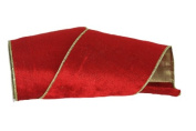 Renaissance 2000 Ribbon, 10cm , Red Velvet with Gold Lame Backing, Red and Gold Orange