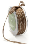 May Arts 0.6cm Wide Ribbon, Brown Cheque
