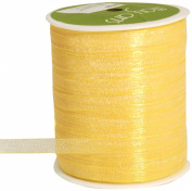 May Arts 0.6cm Wide Ribbon, Yellow Sheer Iridescent