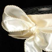 Designer Creamy Ivory Wired Pearl Edge Satin Craft Ribbon 5.1cm x 20 Yards