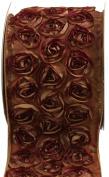 Kel-Toy Dimensional Rose Ribbon, 10cm by 10-Yard, Blush/Gold