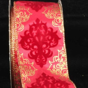 Decorative Damask-Style Red and Gold Wired Craft Ribbon 6.4cm x 20 Yards