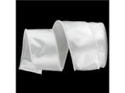 Designer Pure White Wired Pearl Edge Satin Craft Ribbon 7.6cm x 20 Yards