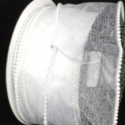 Designer Pure White Wired Pearl Edge Sheer Craft Ribbon 7.6cm x 20 Yards