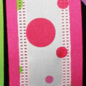 """Zip-a-dee Doo-Dots""Pink and Green Wired Craft Ribbon 3.8cm x 40 Yards"