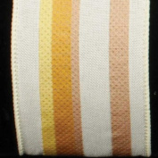 Colourful Striped Surprise Ivory Wired Burlap Craft Ribbon 6.4cm x 20 Yards