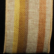 Colourful Striped Surprise Natural Tan Wired Burlap Craft Ribbon 6.4cm x 20 Yards