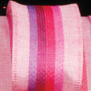Colourful Striped Surprise Pink Wired Burlap Craft Ribbon 6.4cm x 20 Yards