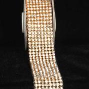 Crystal Diamond Craft Ribbon Trim with Gold Setting 3.8cm x 1 Yard