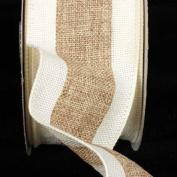 Natural Tan & Creamy Ivory Wired Fine Burlap Craft Ribbon 7.6cm x 20 Yards