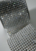 Crystal Diamond Craft Ribbon Trim with Silver Setting 7cm x 1 Yard