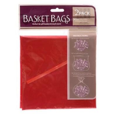 Red Translucent Plastic Basket Bags, 60cm . X 80cm . - 2/pkg