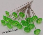 Apple Green Diamante Pins / pk 100