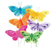 Set of 6 Assorted Coloured Feathered Butterfly Foral Picks