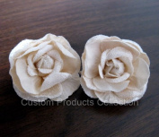 Ivory Rose Wedding Birde Hair Flower Clip Barrette- One Pair