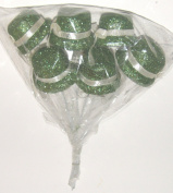 Green Glitter Irish Leprechaun Hats Floral Picks, Set of 6