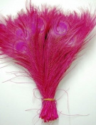 25 Pcs Peacock Feathers 25cm - 30cm Bleached HOT PINK