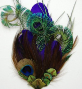 6 Pcs Pheasant Feather Pads - Purple Quill Peacock Pads
