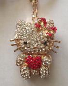 Beautiful 3D Luxury RED Hello Kitty Heart Figure New Fashion Rhinestone Crystal Keychain Purse Clipper Chain Gift