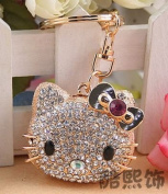 Beautiful 3D Luxury PURPLE Hello Kitty BIG HEAD Figure New Fashion Rhinestone Crystal Keychain Purse Clipper Chain Gift Comes with 1 Retro Wooden Textured Charm