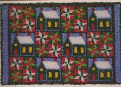 J & P Coats Latch Hook Christmas Quilt