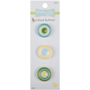 Babyville Boutique Buttons, Yellow Dots, 3 Count