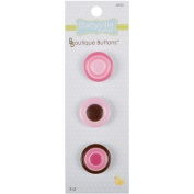 Babyville Boutique Buttons, Pink Dots, 3 Count