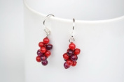Grape Red Jasper Silver Earring Gem Stone Handmade by Flower GemStone