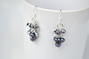 Black Pearl Silver Earring Gem Stone Handmade by Flower GemStone
