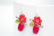 Quartz Ruby Coloured Silver Earring Gem Stone Handmade by Flower GemStone