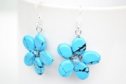 Turquoise Flower Shape Silver Earring Gem Stone Handmade by Flower GemStone
