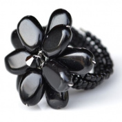Black Onyx Flower Gemstone Ring by Flower GemStone