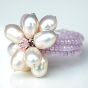 Pink Pearl Flower Gemstone Ring by Flower GemStone