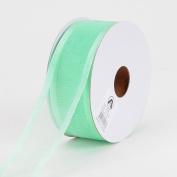 Mint Organza Ribbon Two Striped Satin Edge 2.2cm 25 Yards