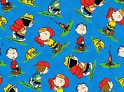 110cm Wide Camp PEANUTS Toss Blue Cotton Fabric BY THE HALF YARD