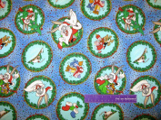 110cm Wide Bugs Bunny Santa Cotton Fabric BY THE HALF YARD
