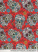 David Textiles Fabric Fun Folk Folkloric Art Skull Fabric DT-2888-2C Sugar Skulls Skull Tattoo Quilt Fabric 100% Cotton 110cm Wide - HALF YARD