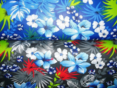 Hawaiian Islands Blue Hibiscus & White Leis Tropical Foliage Fabric 150cm By the Yard