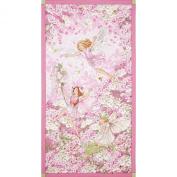 Michael Miller Petal Flower Fairies Panel Pink Fabric