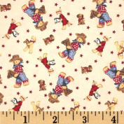 Tossed Cowboy Bears Flannel Ivory/Multi Fabric