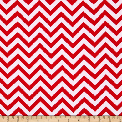 Flannel Chevron Red/White Fabric