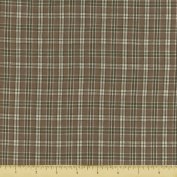 Textile Creations 1339 Rustic Woven Fabric, Small Plaid Sage And White, 15 yd.